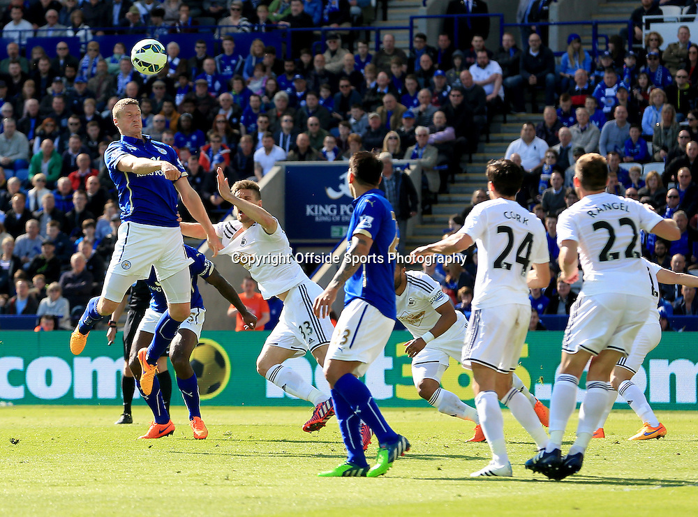 18th April 2015 - Barclays Premier League - Leicester City v Swansea - Jeff Schlupp of Leicester City gets his head to a corner but the chance goes harmlessly wide - Photo: Paul Roberts / Offside.