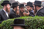 A group of ultra orthodox Jewish men from the Ashkenazi sect discussing business matters by a hedge in Overlea road, Stamford hill, London.