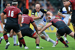 Bath replacement flanker Matt Garvey in possession - Photo mandatory by-line: Patrick Khachfe/JMP - Tel: Mobile: 07966 386802 - 22/09/2013 - SPORT - RUGBY UNION - Allianz Park, London- Saracens v Bath Rugby - Aviva Premiership.
