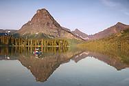 fishing,  Two Medicine Lake, reflection, Glacier National Park