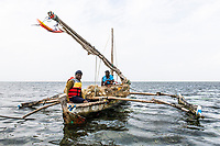 Subsistance Fishers using a Dhouw, Mombasa Marine Protected Area, Kenya