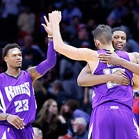 02 November 2014: Sacramento Kings forward Rudy Gay (8) celebrates with Sacramento Kings forward Omri Casspi (18) and Sacramento Kings guard Ben McLemore (23) during the Sacramento Kings 98-92 victory over the Los Angeles Clippers, at the Staples Center, Los Angeles, California, USA.