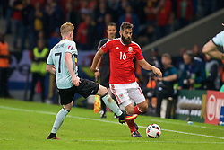 LILLE, FRANCE - Friday, July 1, 2016: Wales' Joe Ledley in action against Belgium's Kevin De Bruyne during the UEFA Euro 2016 Championship Quarter-Final match at the Stade Pierre Mauroy. (Pic by Paul Greenwood/Propaganda)