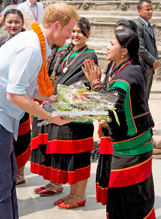 20-3-2016 KATHMANDU - Prince Harry will visit Kathmandu's historic Patan Durbar Square, a UNESCO World Heritage Site, which was damaged during the 2015 earthquake. Prince Harry during a 5 day visit to Nepal COPYRIGHT ROBIN UTRECHT prins harry engeland tijdens een bezoek aan nepal