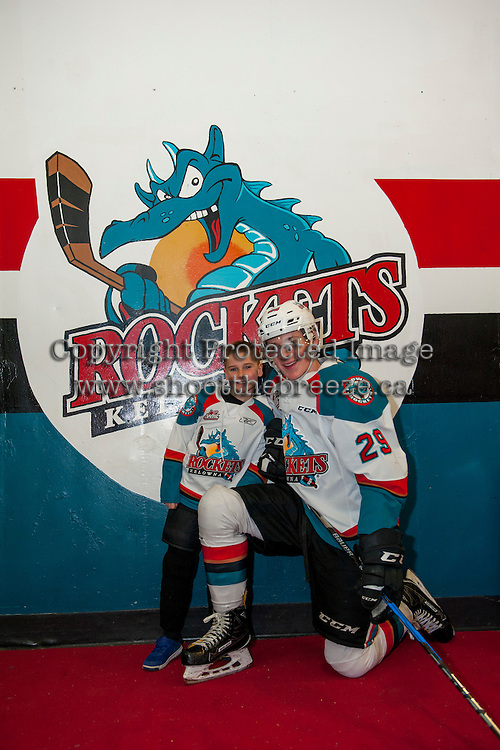 KELOWNA, CANADA - FEBRUARY 13: Nolan Foote #29 of the Kelowna Rockets stands with the Pepsi Player of the game against the Seattle Thunderbirds on February 13, 2017 at Prospera Place in Kelowna, British Columbia, Canada.  (Photo by Marissa Baecker/Shoot the Breeze)  *** Local Caption ***