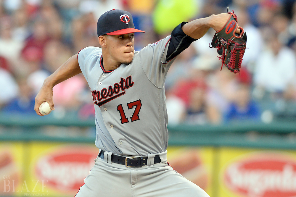 Aug 1, 2016; Cleveland, OH, USA; Minnesota Twins starting pitcher Jose Berrios (17) throws a pitch during the third inning against the Cleveland Indians at Progressive Field. Mandatory Credit: Ken Blaze-USA TODAY Sports