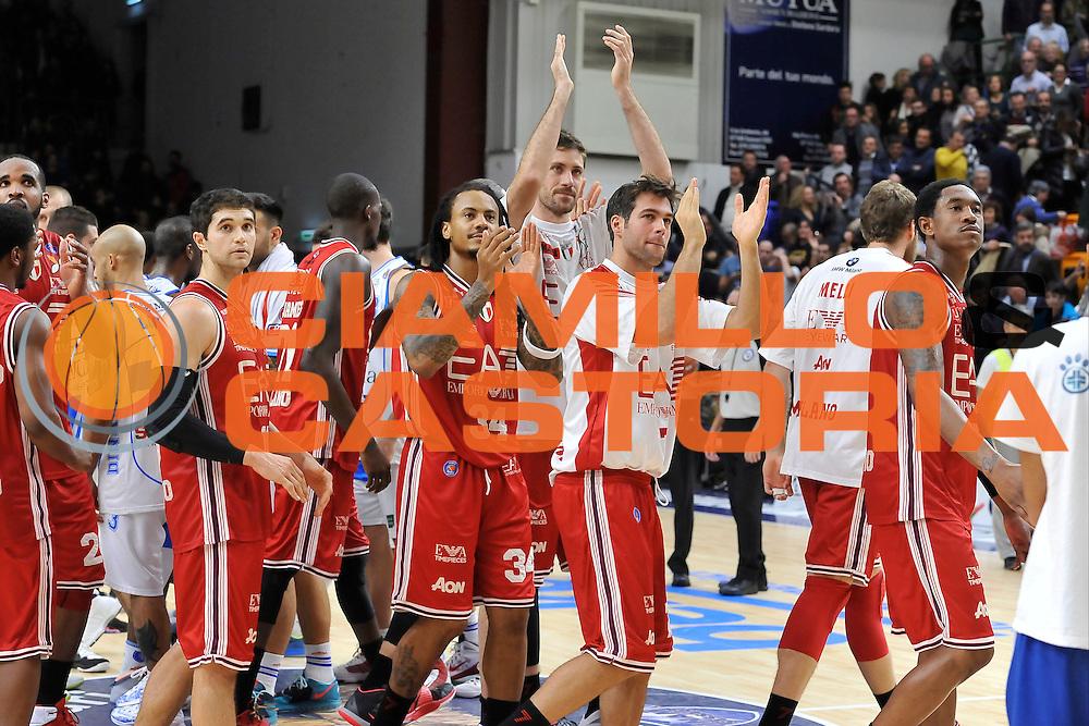 DESCRIZIONE : Campionato 2014/15 Dinamo Banco di Sardegna Sassari - Olimpia EA7 Emporio Armani Milano<br /> GIOCATORE : Olimpia EA7 Emporio Armani Milano Team<br /> CATEGORIA : Esultanza<br /> SQUADRA : Olimpia EA7 Emporio Armani Milano<br /> EVENTO : LegaBasket Serie A Beko 2014/2015<br /> GARA : Dinamo Banco di Sardegna Sassari - Olimpia EA7 Emporio Armani Milano<br /> DATA : 07/12/2014<br /> SPORT : Pallacanestro <br /> AUTORE : Agenzia Ciamillo-Castoria / Luigi Canu<br /> Galleria : LegaBasket Serie A Beko 2014/2015<br /> Fotonotizia : Campionato 2014/15 Dinamo Banco di Sardegna Sassari - Olimpia EA7 Emporio Armani Milano<br /> Predefinita :