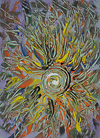 fluid universe abstract image with branches shapes around a central whirlpool with many colors