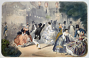 Paris Evenings: Dancers in the open air dancing to the music of the orchestra in the bandstand, to left. Coloured lithograph, c 1850, after Henri de  Montaut (c1825-1890/1897) French artist.    France
