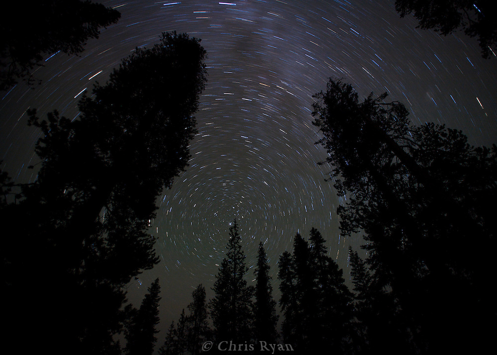 Startrails and the Milky Way in the night sky at Mt. Lassen Volcanic National Park