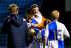 Liam Armstrong of Bristol Rovers U18 celebrates after a in a penalty shootout victory - Rogan/JMP - 02/11/2017 - FOOTBALL - Memorial Stadium - Bristol, England - Bristol Rovers U18 v Forest Green Rovers U18 - FA Youth Cup 1st Round.