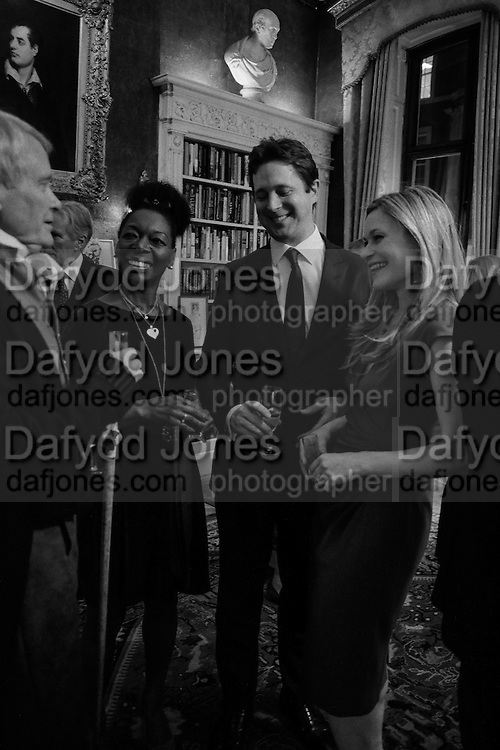 CRAWFORD LOGAN AS SIR WALTER SCOTT; BARONESS FLOELLA BENJAMIN,, ALEX BURGHART; HERMIONE EYRE, The Walter Scott Prize for Historical Fiction 2015 - The Duke of Buccleuch hosts party to for the shortlist announcement. <br /> The winner is announced at the Borders Book Festival in Scotland in June.John Murray's Historic Rooms, 50 Albemarle Street, London, 24 March 2015.