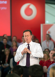 Prime Minister David Cameron visits the HQ of Vodaphone UK,Newbury,Berkshire. Thursday, 3rd April 2014. Picture by i-Images