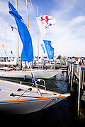 W Class yachts at the Nantucket Boat Basin dock.