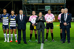 Chris Booy and Steve Gorvett line up with the Bristol Rugby  players for a minutes silence for the upcoming Remembrance Day - Mandatory byline: Rogan Thomson/JMP - 06/11/2015 - RUGBY UNION - Ashton Gate Stadium - Bristol, England - Bristol Rugby v Doncaster Knights - Greene King IPA Championship.