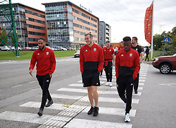 BRATISLAVA, SLOVAKIA - Thursday, October 10, 2019: Wales' L-R Ashley Williams, Gareth Bale and Rabbi Matondo during a pre-match team walk near the Hotel NH Bratislava Gate One ahead of the UEFA Euro 2020 Qualifying Group E match between Slovakia and Wales. (Pic by David Rawcliffe/Propaganda)