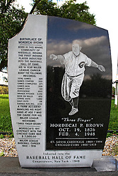 06 October 2013:   A sign announcing the memorial for Mordecai Brown near Rockville Indiana has the first name of Three Fingers misspelled. This image was produced in part utilizing High Dynamic Range (HDR) or panoramic stitching or other computer software manipulation processes. It should not be used editorially without being listed as an illustration or with a disclaimer. It may or may not be an accurate representation of the scene as originally photographed and the finished image is the creation of the photographer.