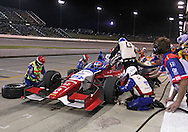 James Jakes pits during the IZOD IndyCar Iowa Corn Indy 250 auto race at the Iowa Speedway in Newton, Iowa on Saturday, June 23, 2012.