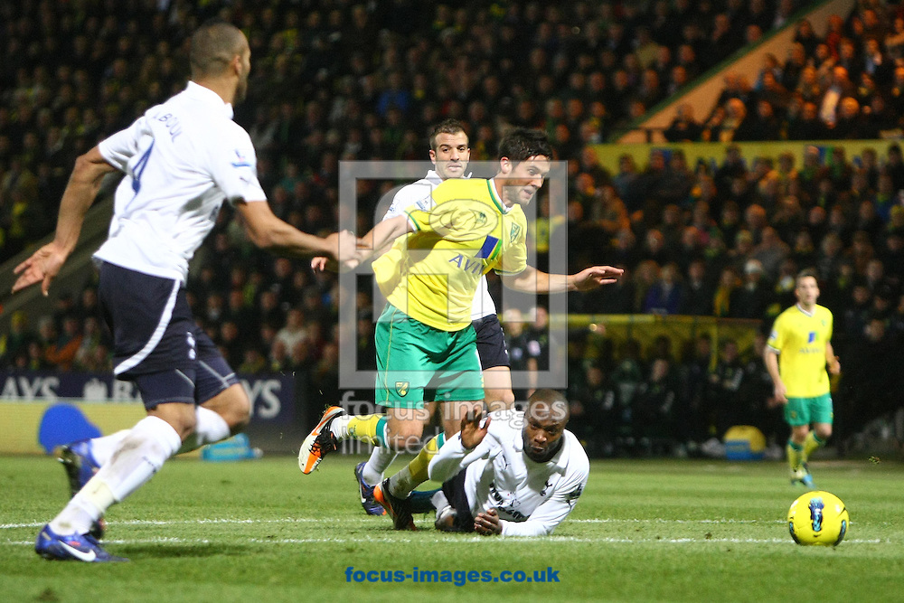 Picture by Paul Chesterton/Focus Images Ltd.  07904 640267.27/12/11.William Gallas of Tottenham Hotspurs fouls Norwich's Andrew Surman and gets a yellow card from Referee Michael Oliver during the Premier League match at Carrow Road Stadium, Norwich.