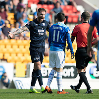 St Johnstone v Dundee….20.04.19   McDiarmid Park   SPFL<br />Martin Woods complains after Referee Alan Muir awards a free kick for his foul on Danny Swanson<br />Picture by Graeme Hart. <br />Copyright Perthshire Picture Agency<br />Tel: 01738 623350  Mobile: 07990 594431