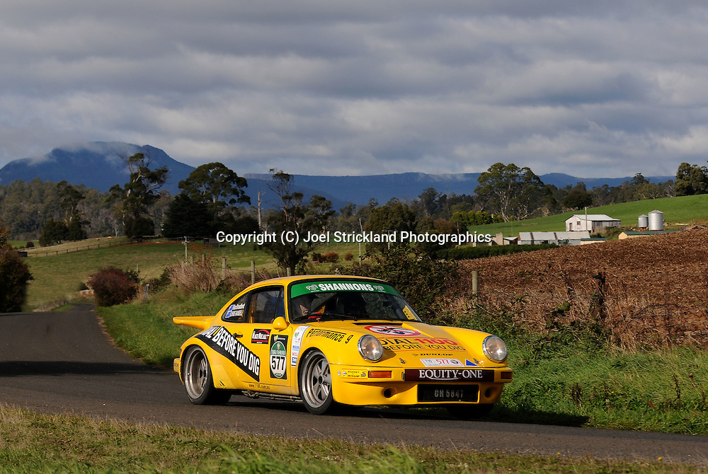 #577 - Rex Broadbent & Chris Randell - 1974 Porsche 911 Carrera RS.Day 3.Targa Tasmania 2010.30th of April 2010.(C) Joel Strickland Photographics.Use information: This image is intended for Editorial use only (e.g. news or commentary, print or electronic). Any commercial or promotional use requires additional clearance.