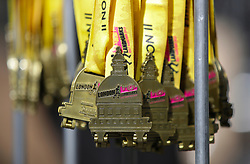 General view of the medals during the 2019 London Landmarks Half Marathon.
