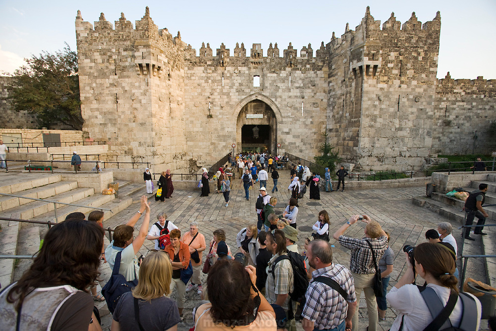 Tourists visit the Damascas Gate in Old City wall, Jerusalem, Israel.