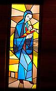 Stained glass window of Mary holding baby Jesus. Minneapolis Minnesota USA