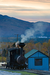 The cog railroad on Mount Washington in Twin Mountain, New Hampshire.  White Mountains.