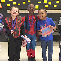 HLES STUDENT OF THE MONTH<br /> (Courtesy photo)<br /> Houston Lower Elementary School named their October Student Of The Month. Shown dressed in Halloween garb are first graders Jose Espericueta, Kaiden Blissard, Zamarian Brownlee, Kilea Vance and Aiden Whitfield,