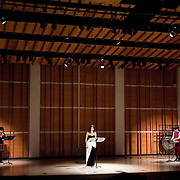 "February 18, 2012 - New York, NY : From left, Hitomi Nakamura (hichiriki), Soprano.Wonjung Kim, and Kyoko Kato (percussion) perform the world premiere of Takehito Shimazu's 'Four Haiku: Four Seasons in litate' (2012) during ""Resonances of the Kugo,"" part of the 2012 New York Music From Japan Festival, at Merkin Concert Hall on Saturday. .CREDIT: Karsten Moran for The New York Times"