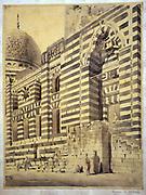 Mosque of el-Aschraff', c1866. Watercolour.  Richard Phene Spiers (1838-1916) English Architect.  Exterior of Sultan Ashref Al-Barsbay Mosque, Khan-e-Khalili, Cairo, Egypt. Architecture Building Religious Islamic