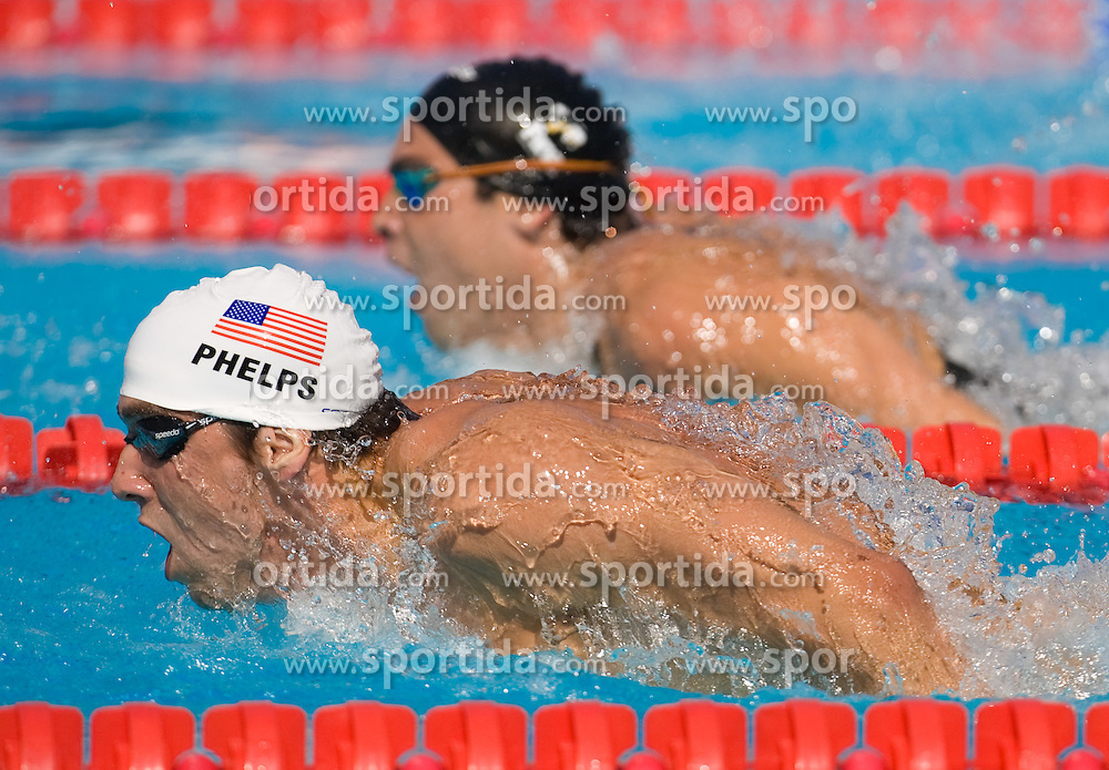 Michael Phelps of USA competes in the Men's 200m Butterfly Heats during the 13th FINA World Championships Roma 2009, on July 28, 2009, at the Stadio del Nuoto,  in Foro Italico, Rome, Italy. (Photo by Vid Ponikvar / Sportida)