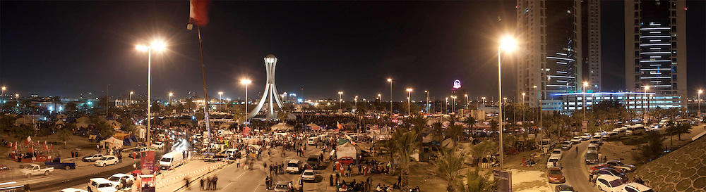 A panoramic view of Pearl Roundabout in Manama, Bahrain, where tens of thousands of people protested for government reforms.