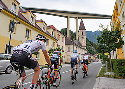 09.07.2019, Frohnleiten, AUT, Ö-Tour, Österreich Radrundfahrt, 3. Etappe, von Kirchschlag nach Frohnleiten (176,2 km), im Bild v.l. Thibault Guernalec (FRA, Team Arkea Samsic), Francesco Manuel Bongiorno (ITA, Neri Sottoli - Selle Italia - KTM), Alessandro Fedeli (ITA, Delko Marseille Provence), Georg Zimmermann (GER, Tirol KTM Cycling Team) in Schottwien, Niederösterreich // f.l. Thibault Guernalec of France (Team Arkea Samsic) Manuel Bongiorno of Italy (Neri Sottoli - Selle Italia - KTM) Alessandro Fedeli of Italy (Delko Marseille Provence) Georg Zimmermann of Germany (Tirol KTM Cycling Team) at Schottwien Lower Austria during 3rd stage from Kirchschlag to Frohnleiten (176,2 km) of the 2019 Tour of Austria. Frohnleiten, Austria on 2019/07/09. EXPA Pictures © 2019, PhotoCredit: EXPA/ Reinhard Eisenbauer