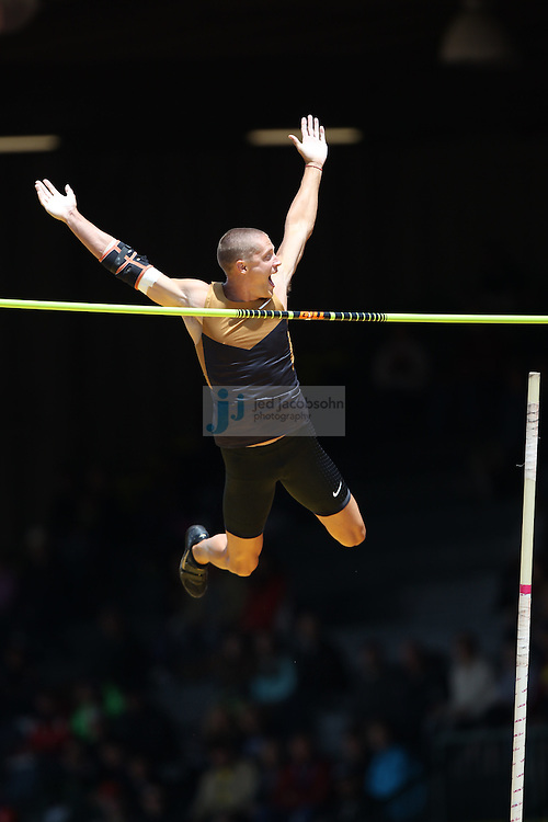 Trey Hardee celebrates after clearing the high jump portion of the Decathlon during day 2 of the U.S. Olympic Trials for Track & Field at Hayward Field in Eugene, Oregon, USA 23 Jun 2012..(Jed Jacobsohn/for The New York Times)....