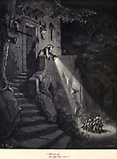 """Who are you, You queer little crew?'"""" Illustration from 'Hop O' My Thumb' by Paul Gustave Dore. Hop-o'-My-Thumb (Hop-on-My-Thumb), or Hop o' My Thumb, also known as Little Thumbling, Little Thumb, or Little Poucet is one of the eight fairytales published by Charles Perrault in Histoires ou Contes du temps passé (1697), Where the small boy defeats the ogre. Illustration by Gustave Dore from the book Fairy realm. A collection of the favourite old tales. Illustrated by the pencil of Gustave Dore by Tom Hood, (1835-1874); Gustave Doré, (1832-1883) Published in London by Ward, Lock and Tyler in 1866"""