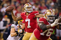 12 January 2013: Quarterback (7) Colin Kaepernick of the San Francisco 49ers passes the ball against the Green Bay Packers during the first half of the 49ers 45-31 victory over the Packers in an NFL Divisional Playoff Game at Candlestick Park in San Francisco, CA.