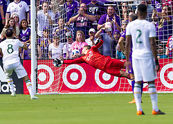 April 8, 2018 - Orlando, FL, U.S. - ORLANDO, FL - APRIL 08: Orlando City goalkeeper Joseph Bendik (1) nearly saves a goal as orlando City Fc goes down 2 goals to 0 during the MLS soccer match between the Orlando City FC and the Portland Timbers at Orlando City SC on April 8, 2018 at Orlando City Stadium in Orlando, FL. (Photo by Andrew Bershaw/Icon Sportswire) (Credit Image: © Andrew Bershaw/Icon SMI via ZUMA Press)