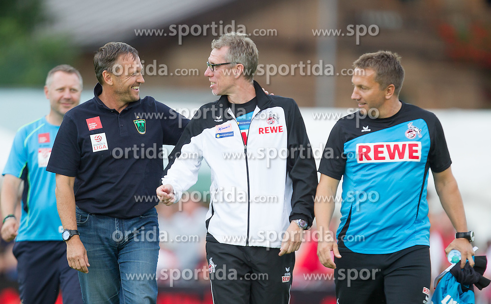 28.07.2014, Casino Stadion, Kitzbühel, AUT, Testspiel, FC Wacker Innsbruck vs 1. FC Köln, im Bild v.l.: Michael Streiter (Trainer, FC Wacker Innsbruck), Peter Stöger (Trainer, 1. FC Köln) und Manfred Schmid (Co-Trainer, 1. FC Köln) // during a Friendly Match between FC Wacker Innsbruck and 1. FC Köln at the Casino Stadium, Kitzbühel, Austria on 2014/07/28. EXPA Pictures © 2014, PhotoCredit: EXPA/ JFK