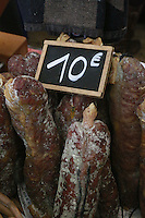 sausages from SW France, market in Paris - at an exhibition and food market of producers from the southwest of France