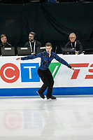KELOWNA, BC - OCTOBER 26: German figure skater Paul Fentz competes during the men's long program / free skate of Skate Canada International held at Prospera Place on October 26, 2019 in Kelowna, Canada. (Photo by Marissa Baecker/Shoot the Breeze)