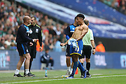 AFC Wimbledon striker Lyle Taylor (33) celebrates after scoring a goal to give Wimbledon a 1-0 lead during the Sky Bet League 2 play off final match between AFC Wimbledon and Plymouth Argyle at Wembley Stadium, London, England on 30 May 2016.