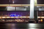 DEU, Germany, Cologne, river Rhine, Severins bridge, Deutzer bridge, Hohenzollern bridge, the blue theatre Musical-Dom.....DEU, Deutschland, Koeln, Rhein, Severinsbruecke, Deutzer Bruecke, Hohenzollernbruecke, das blaue Zelttheater Musical-Dom