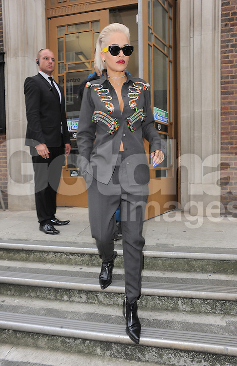 Singer Rita Ora attends Hunter Original SS 2015 catwalk show during London Fashion Spring Summer 2015 in London, UK. 13/09/2014 <br />
