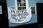 Protest banner on closed pub 'The Billy' against Tendring District Council  Harwich, Essex
