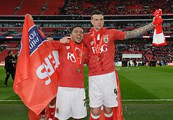 Bristol City's Korey Smith and Bristol City's Aden Flint celebrate the win over Walsall in the Johnstone Paint Trophy final - Photo mandatory by-line: Dougie Allward/JMP - Mobile: 07966 386802 - 22/03/2015 - SPORT - Football - London - Wembley Stadium - Bristol City v Walsall - Johnstone Paint Trophy Final