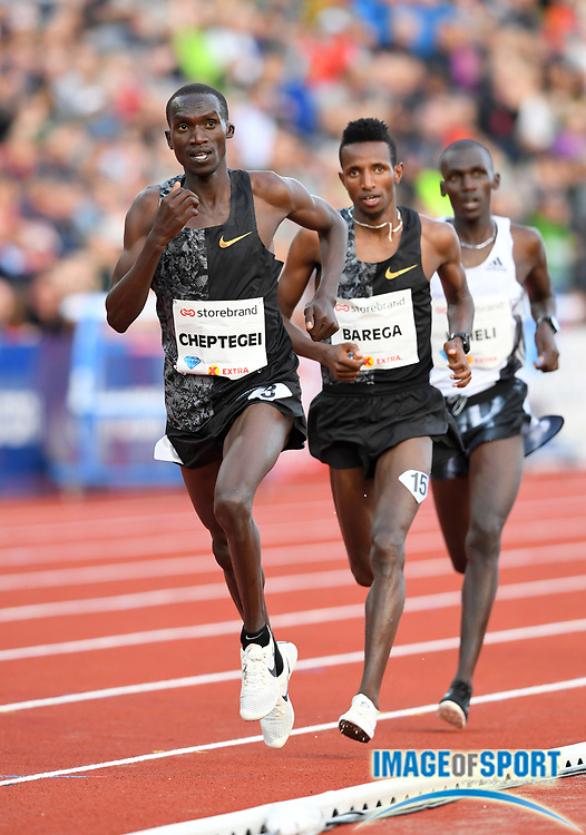 Joshua Cheptegei (UGA) and Selemon Barega (ETH) lead the 3,000m during the 54th  Bislett Games in an IAAF Diamond League meet in Oslo, Norway, Thursday, June 13, 2019. (Jiro Mochizuki/Image of Sport)