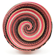 Bowl; Pink and silver spiral