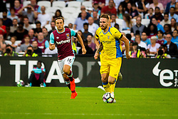 Zan Majer of NK Domzale and Mark Noble of West Ham during 2nd Leg football match between West Ham United FC and NK Domzale in 3rd Qualifying Round of UEFA Europa league 2016/17 Qualifications, on August 4, 2016 in London, England.  Photo by Ziga Zupan / Sportida